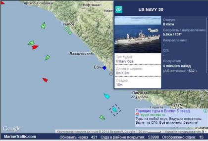 Положение командного корабля USS Mount Whitney Данные MarineTraffic.com на 14 ч 43 м Моск вр.  10.02.2014 года