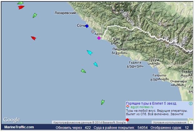 Данные  MarineTraffic.com на 14 ч 43 м Моск вр.  10.02.2014 года